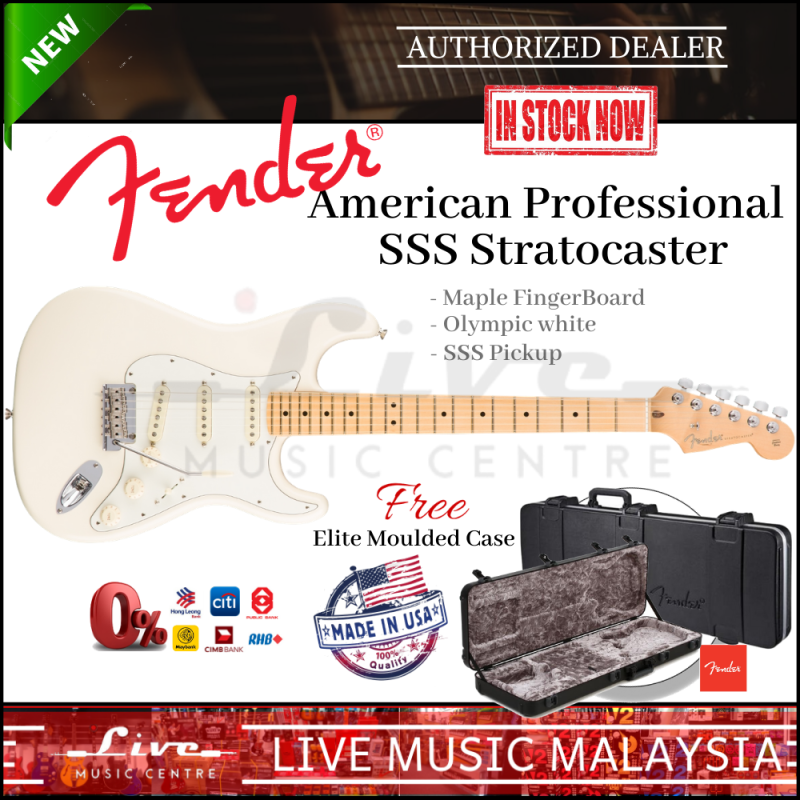 Fender American Professional SSS Stratocaster Electric Guitar, Maple Fretboard with FREE Elite Moulded Case, Olympic White Malaysia