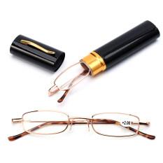 Với hộp đựng bút Kính đọc sách kính di động presbyopic phụ nữ đàn ông vỏ kim loại Kính mắt chân mùa xuân chăm sóc thị lực + 1.00 ~ + 4.00 Unisex
