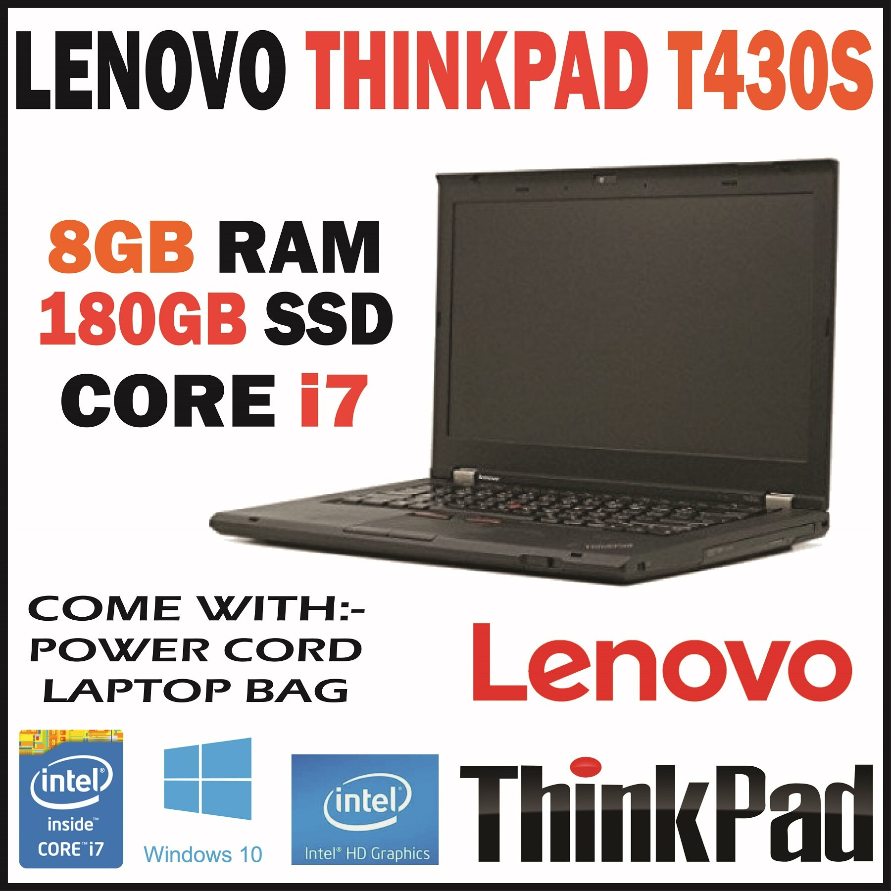 (REFURBISHED) LENOVO THINKPAD T430S / INTEL CORE I7 3RD GEN 3520M / 2.90 GHZ / 8GB RAM / 180GB SSD / WIN 10 / DVD WRITER / DUAL CORE / THREE MONTHS WARRANTY Malaysia