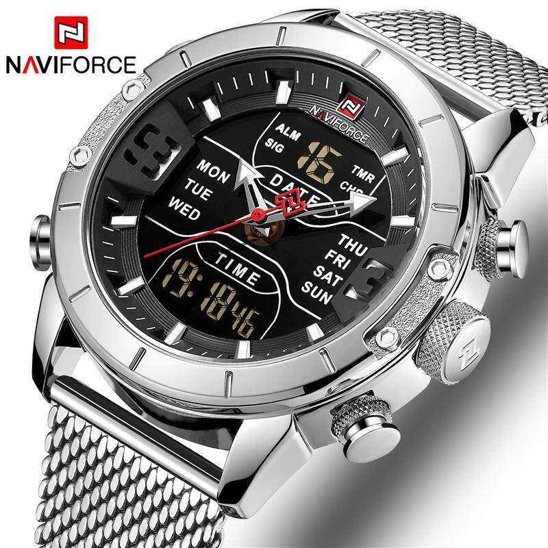 NAVIFORCE Top Brand Luxury Fashion Mens Stainless Steel Mesh Belt Watches Men Casual Sports Waterproof LED Digital Timer Watch Men Classic Quartz Clock Dual Display Time Zone Multi-Function Watch Malaysia