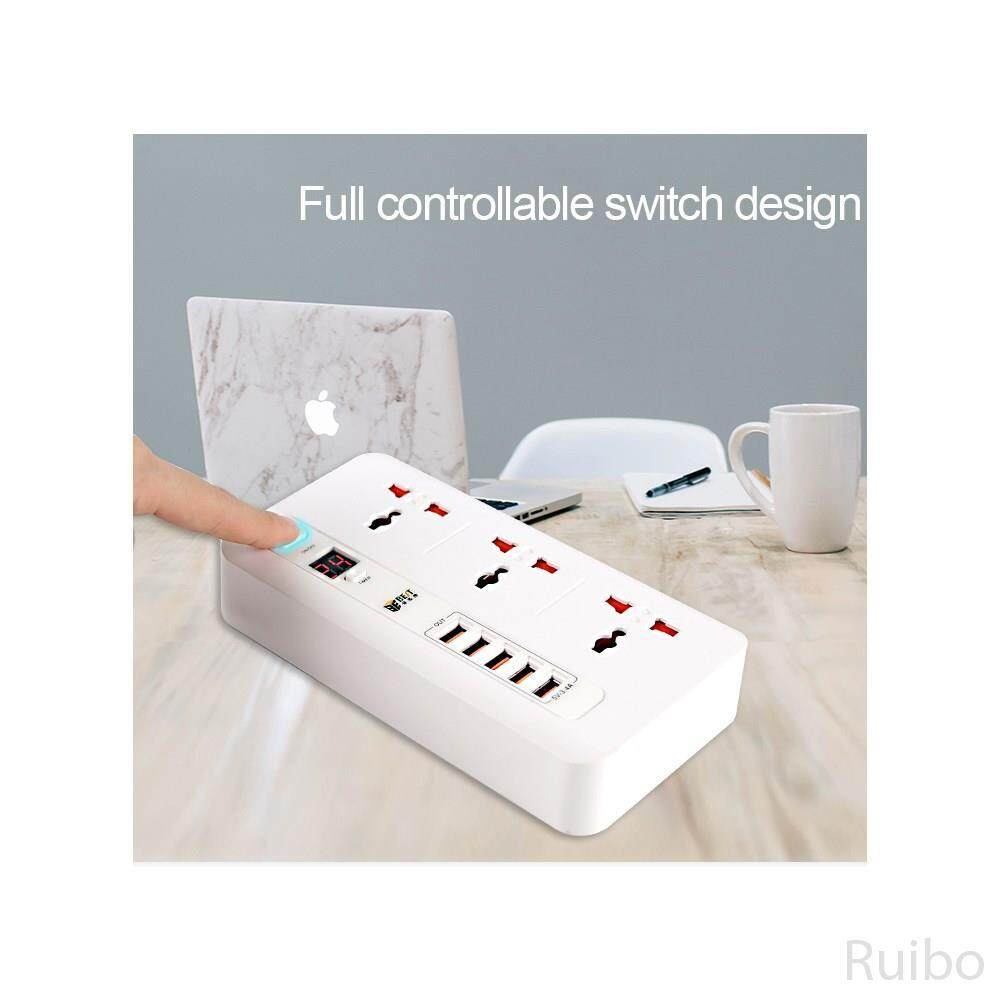 Ruibo BEST BST-04 Power Strip 3 AC Outlets Time Setting with 5 USB Charging Ports Surge Protector (EU Plug)