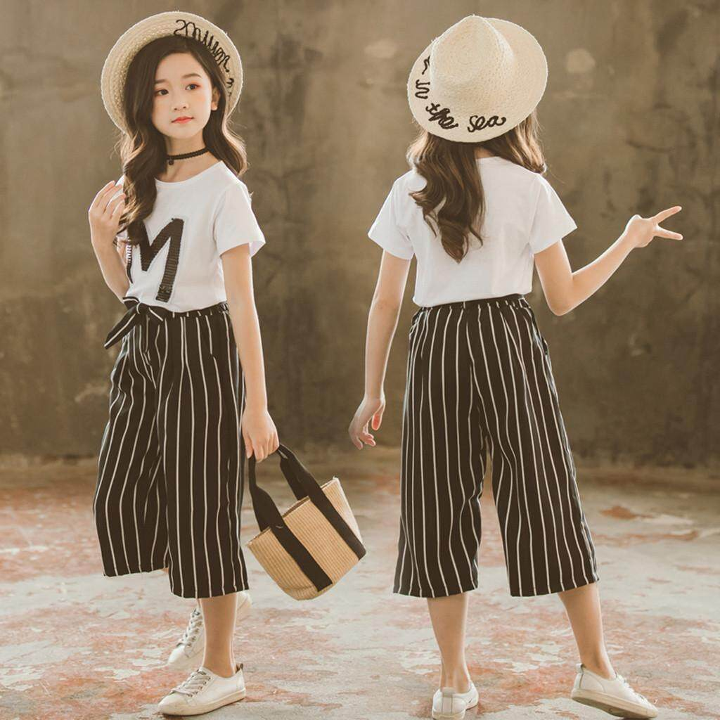 Kids Baby Girls Clothes Clothing Sets Infant Girl Teen Kids Girls Letter Sequin T Shirt Short Sleeve Tops Stripe Pants Outfits Set Korean Girl Outfit Summer Wear Lazada Ph