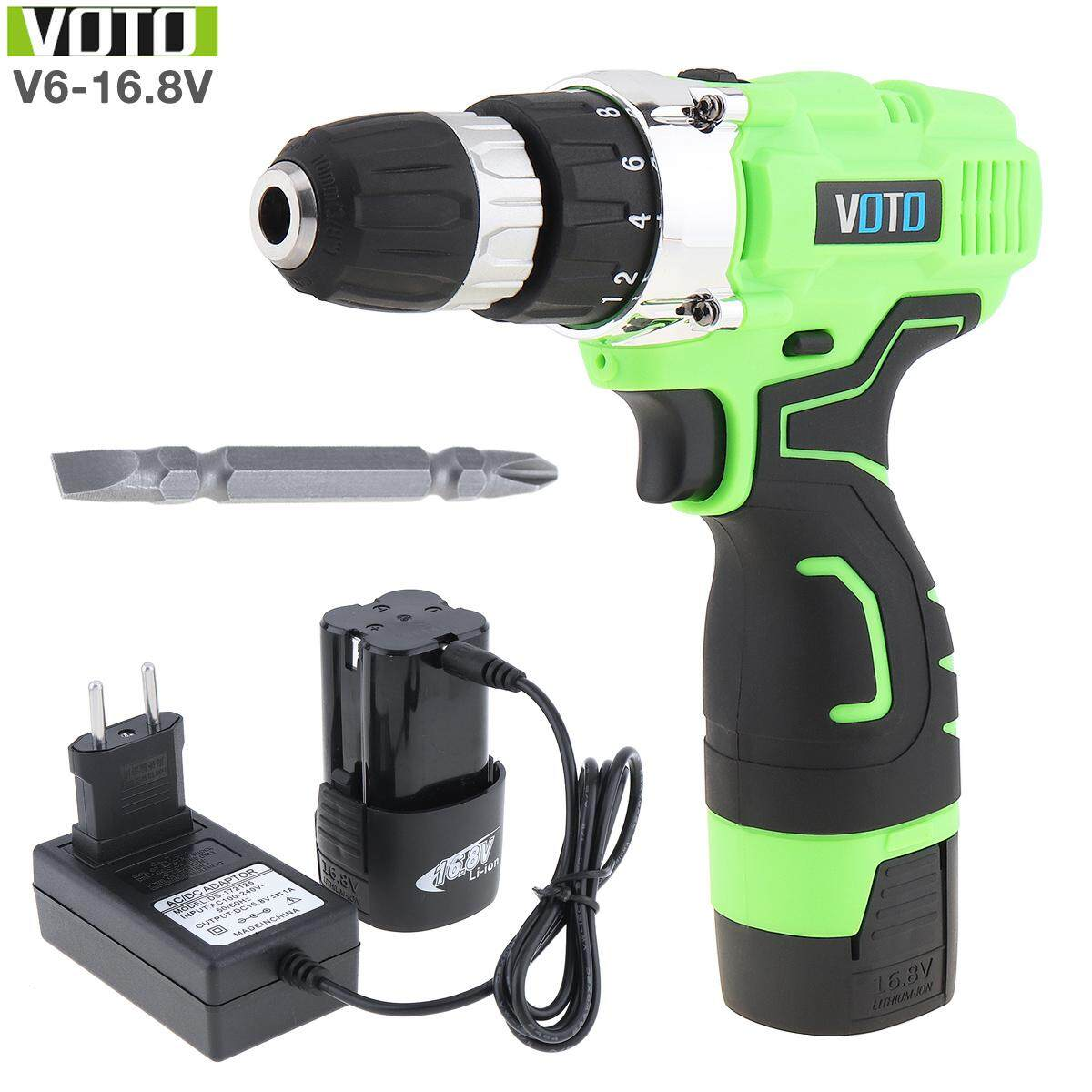 VOTO AC100 - 240V Cordless Max 16.8V Electric Screwdriver with Two-speed Adjustment Button for Handling Screws / Punching