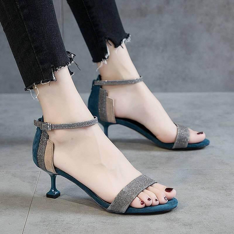 High Heel Womens Fine With 2019 Summer Ladies Sandals Open Toe Low Heel.