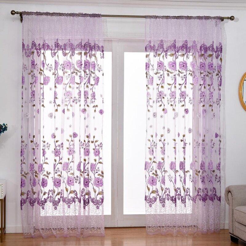 Rèm In Offset Hoa Mẫu Đơn Sợi Vải Tuyn Rèm Để Trang Trí Nhà Cửa Phòng