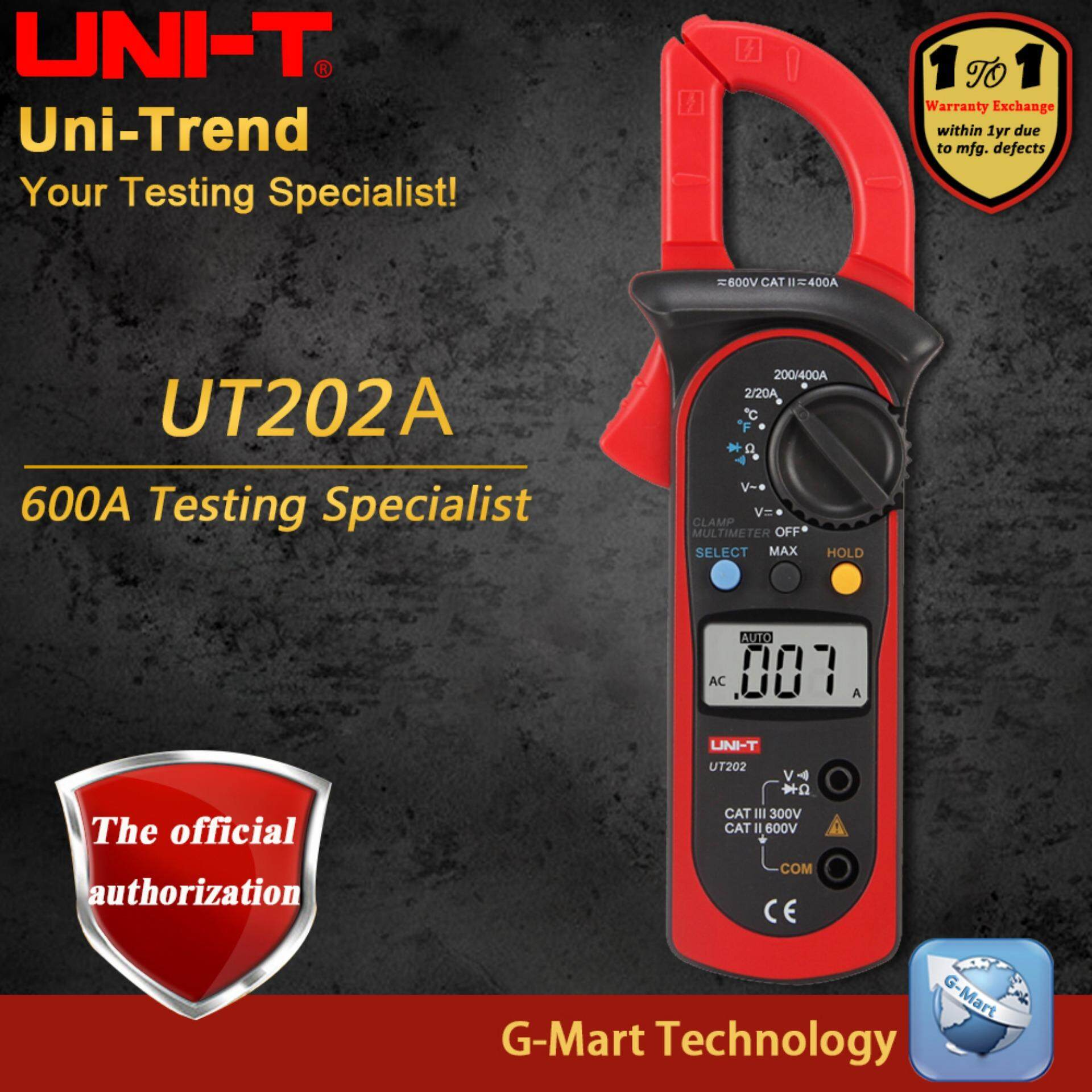 UNI-T UT202A AC Digital Clamp Meter; 400A-600A Digital Ammeter, Resistance/Diode/Temperature test, LCD backlight