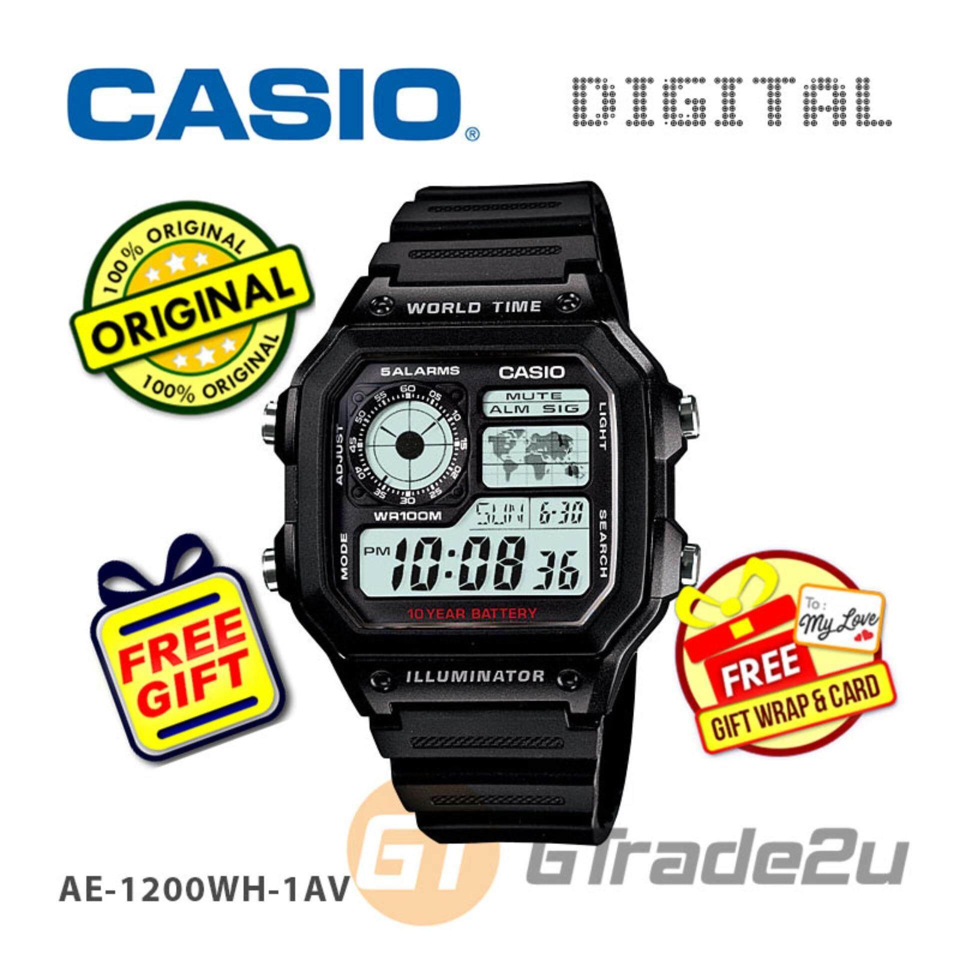 Casio Standard Mens Black Resin Strap Watch AE-1200WH-1AV Jam Tangan Lelaki/Man Malaysia