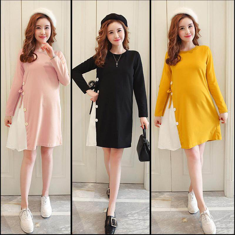 Maternity Wear Autumn And Winter Pregnant Women Long-Sleeved Dress Stitching Loose Casual Maternity Skirt By Ycitshop.