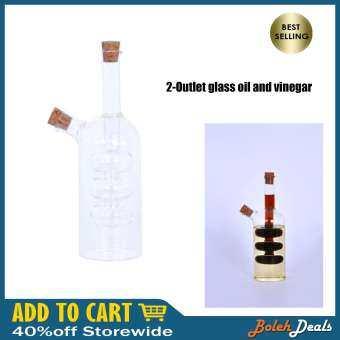 BolehDeals 2-Outlet Glass Olive Oil Jar Vinegar Bottle Pot Kitchen Sauce Dispenser-