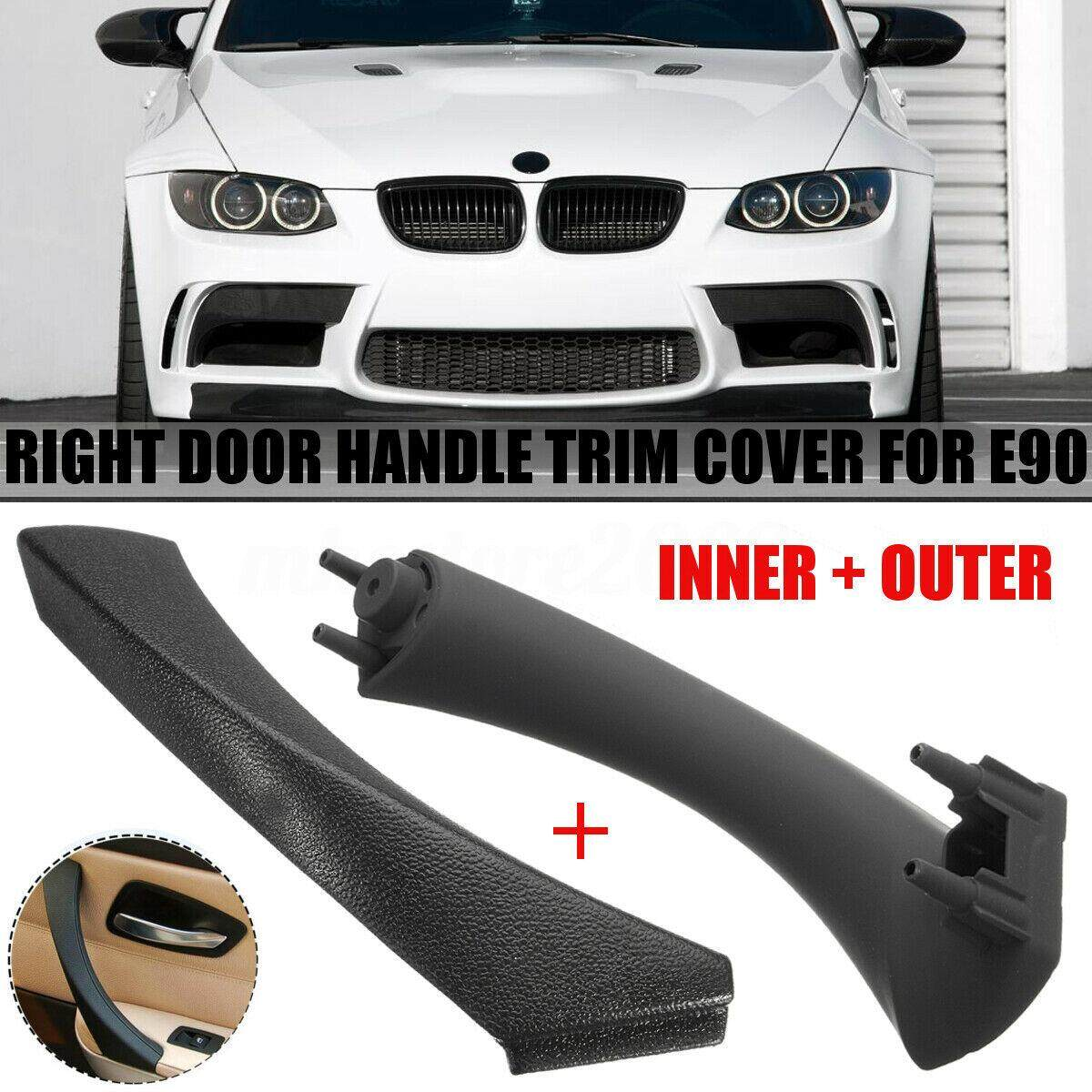 Black Right Inner Door Panel Handle Pull Trim Cover fits for BMW E90 3-Series S