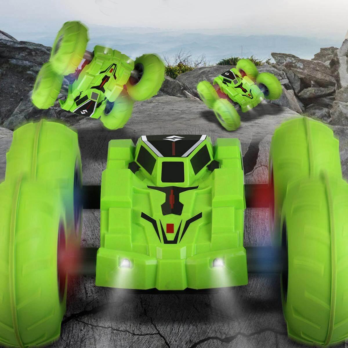 55Km/Jam Pengendali Jarak Jauh RC 360 ° Besar Turbo Stunt Mobil Double Sisi Lampu Efek Mainan