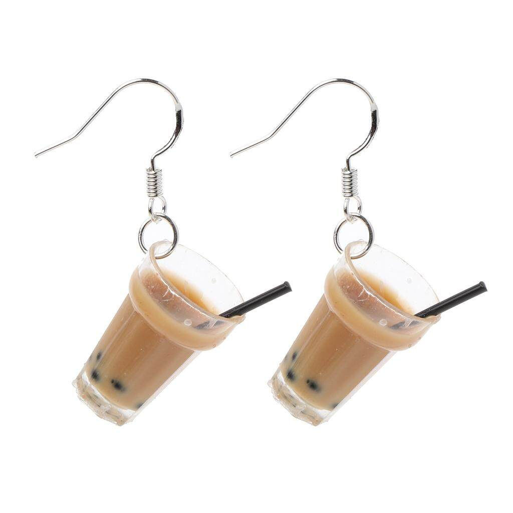 Funny S925 Ear Hooks Resin Pearl Milk Tea Drink Drop Earrings Women Jewelry Gift By Cozyroom.