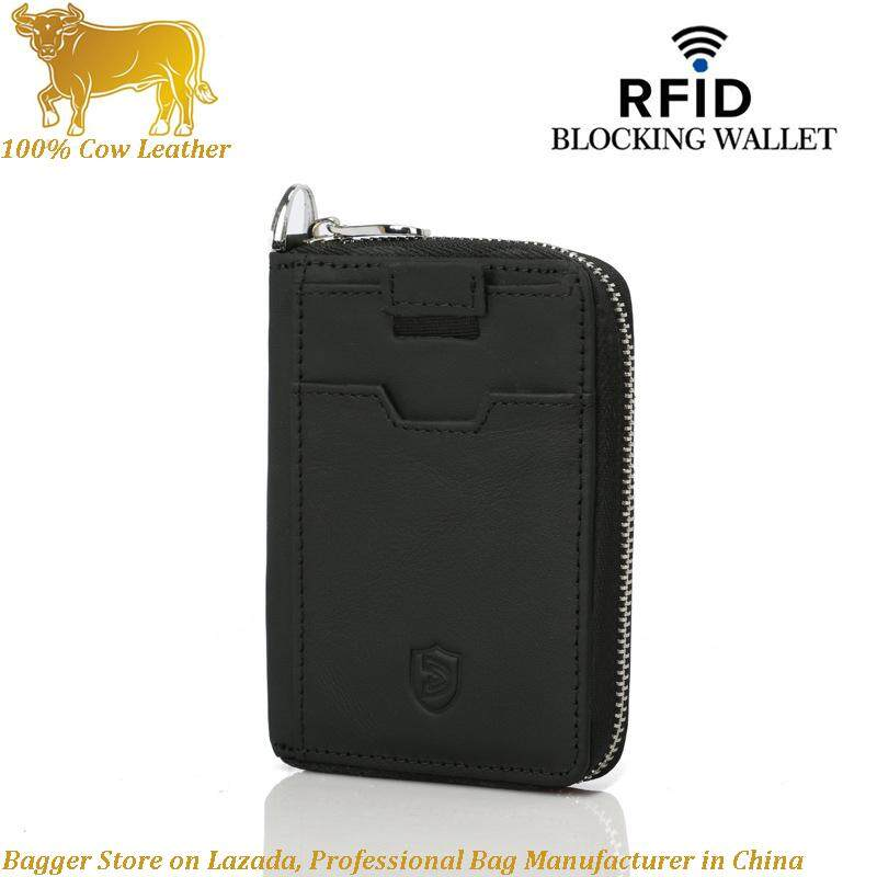 New 100% Genuine Cow Leather RFID Men Card Clip Holders Multi-card Bag Man