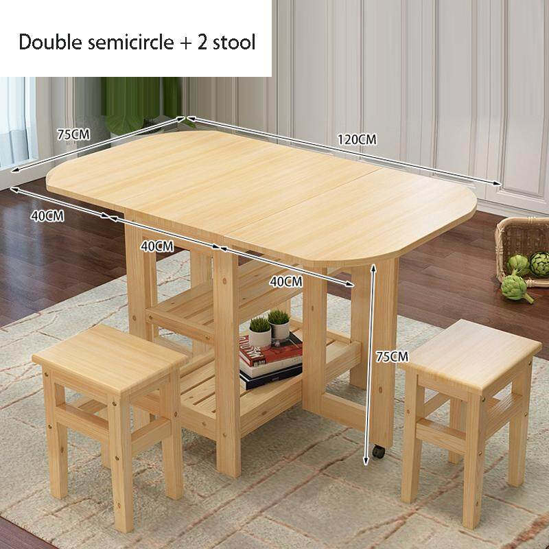 120x75x75cm, Solid Wood Dining Table with 2 Stools Water-based Paint,Folding Solid Wood Semicircle Kitchen Table and Chair Set Island Cart Trolly Breakfast Bar