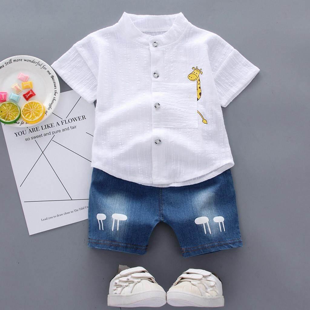 d55211f3a Greatsell COD Kids Baby Girl Boy Cartton Print Tops T Shirt Striped Pants  2PC Outfits Set