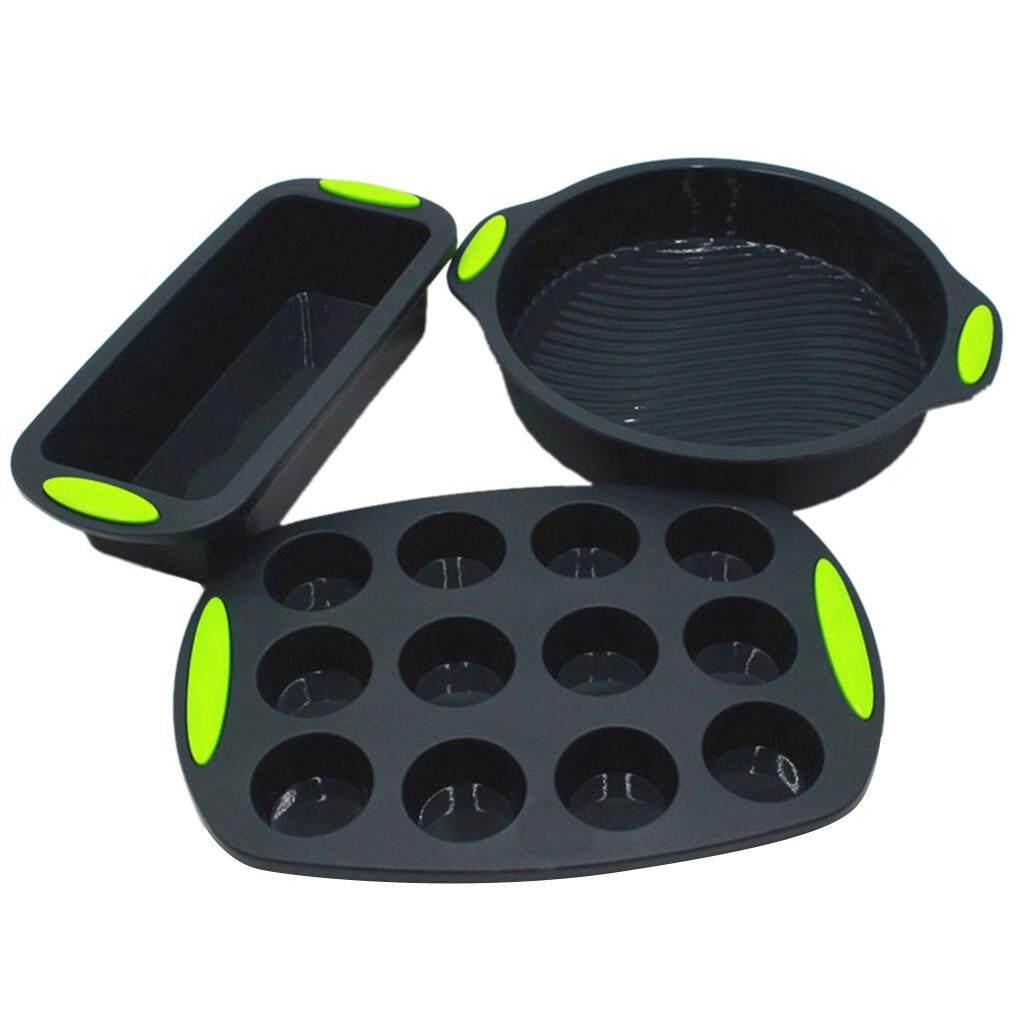 Elenxs 3 Buah Cetakan Set Double Warna 9 Inch Cetakan Kue Bulat 12 Cangkir Muffin Baki