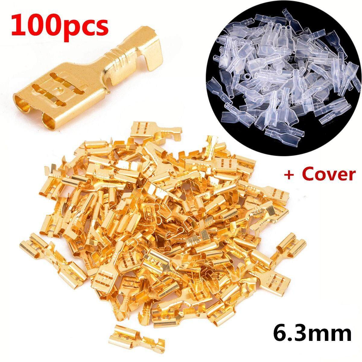 100pcs Copper 6.3mm Female Spade Crimp Terminals 22~16awg 0.5mm Thickness By Motorup.