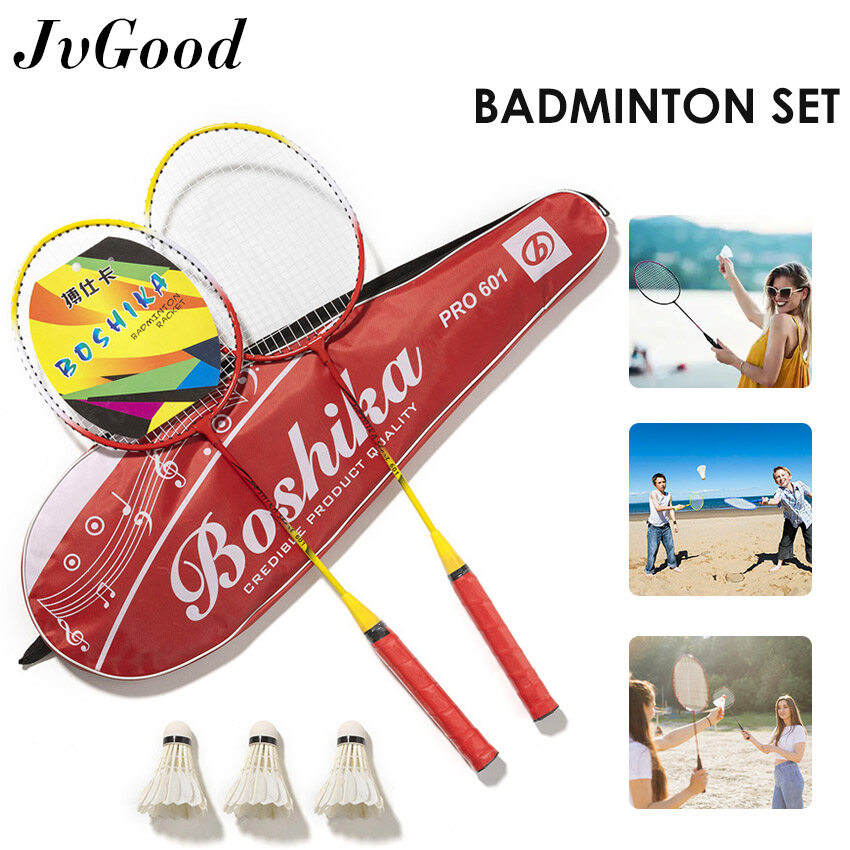 Jvgood 3 In 1 แบดมินตัน ไม้แบดมินตัน Badminton Set Family Badminton Racket Premium Quality Set Professional Beginner Practice Badminton Racket With 3 Balls And Storage Box For Exercise.