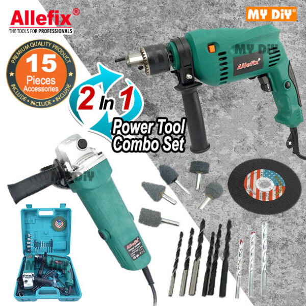 MYDIYHOMEDEPOT - 2 In 1 Allefix Angle Grinder And Impact Hammer Drill 650w Combo Set 15pcs Accessories DIY Power Tools
