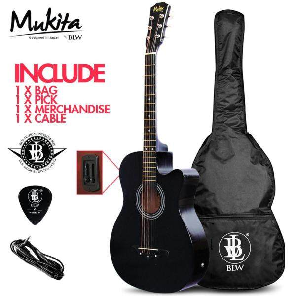 Mukita by BLW Standard 38 Inch Semi Acoustic Electric 2 Equalizer Pre amp Folk Guitar with Bag, Pick, Cable and Merchandise Sticker Malaysia