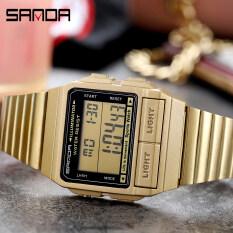 Đồng hồ kỹ thuật số SANDA cho nam đồng hồ Chrono thể thao có lịch thương hiệu cao cấp hàng đầu mặt vuông bằng thép không gỉ chống thấm nước
