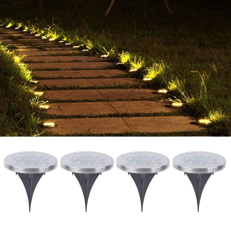 epayst 4Pcs 8LED Solar Power Stainless Steel Underground Lamp Buried Light for Garden Lawn Courtyard Singapore