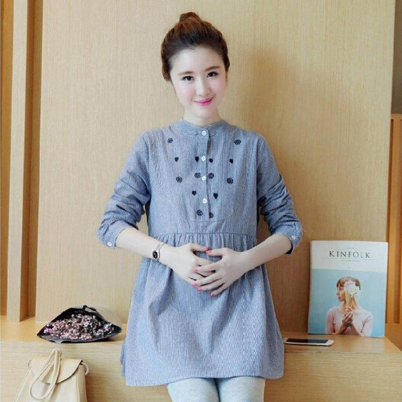 c7044370886a8 Pregnant Women Top Long Sleeve Casual Striped Embroidered Maternity Top  Blouse