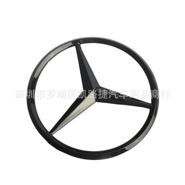 Logo Phẳng 90Mm Xe Phía Sau Thân Cây Biểu Tượng Sticker Cho Mercedes Benz Động Cơ Đuôi Huy Hiệu 9Cm Sáng Đen Y Đăng ABS Mạ