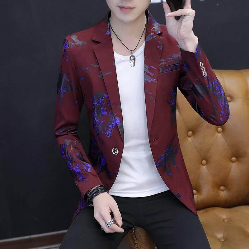 Casual Setelan Jas Anak Muda Pria Jaket Versi Korea Model Membentuk Tubuh Tampan ala Inggris Musim