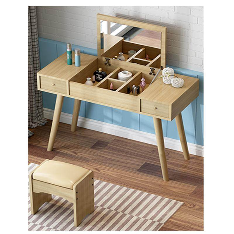 90x40x115cm, Dressing Table Solid Wood European Bedroom Dressing Table with Stool, Foilding Mirror, Princess Makeup Cabinet Luxury Flip Small Dressing Tab