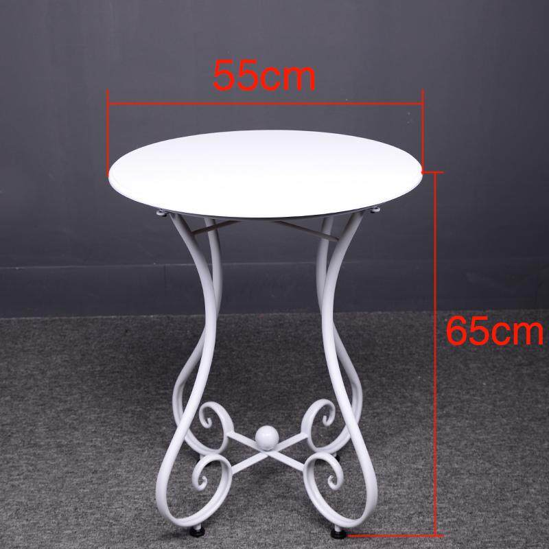 RuYiYu - 55x65cm, Simple Casual Small Round Table, European Wrought Iron Solid Wood Coffee Table, Sofa Corner Small Coffee Table