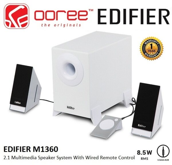 EDIFIER M1360 2.1 SPEAKER SYSTEM WITH UPWARD ANGLED SATELITE AND DOWNWARD FIRING SUBWOOFER REMOTE CONTROL FOR VOLUME AND AUDIO SOURCE SELECTION Malaysia