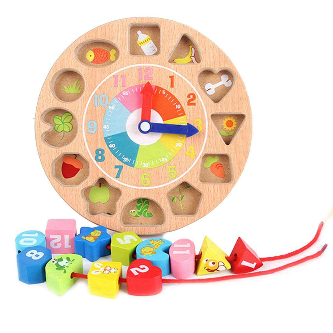 Childrens Intellectual Power Wooden Digital Animal Wearing Rope Toy Beaded Game Creative Clock Building Blocks Digital Geometric Clock Childhood Early Education Matching Game Toy By Dragonlee.