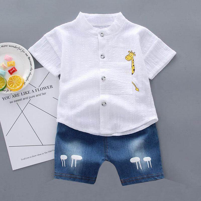 44aea5583 Baby Boy Clothes Set Summer Short Sleeve Shirts Top Summer+Pant Short  Cotton Kid Clothes For Boy Gentleman Clothing Suit