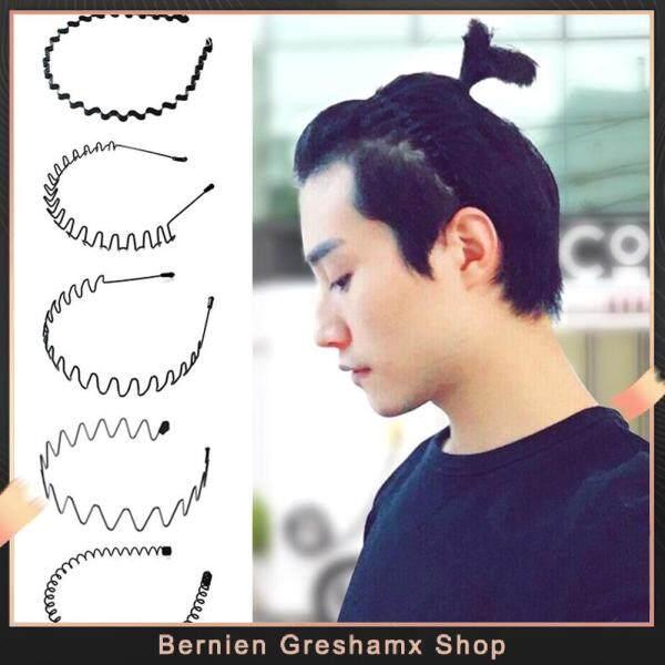 Bernien Greshamx Shop 5 Chiếc Uni Black Metal Xoắn Ốc Sóng Headband Nam Nữ Phụ Kiện Băng Đô