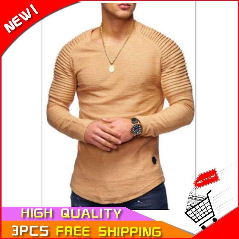 Laut Kaus Pria Striped Lipit Kaos Lengan Raglan Kaus Berkerah Bundar Panjang Pullover Sleeve【ready STOCK-Kualitas Tinggi 】