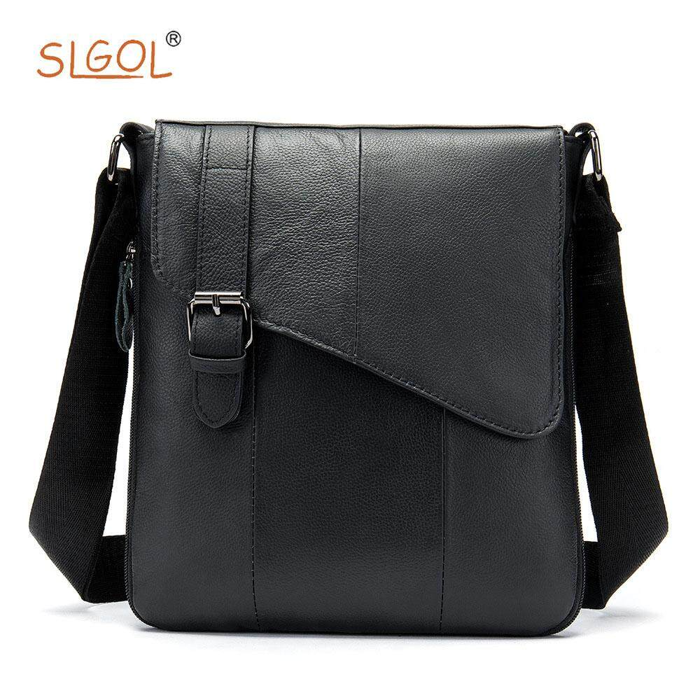 Durable Fashion The First Layer of Leather Shoulder Bag Mens Vertical Mens Casual Messenger Bag Leather Flip Mens Bag Directed By SLGOL