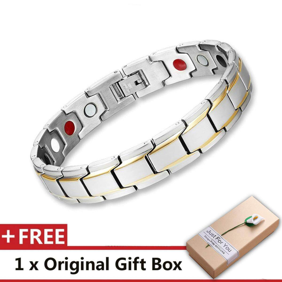 Brand Design Fashion Health Energy Bracelet Bangle Men 316L Stainless Steel Bio Magnetic Bracelets Black And Gold Plated Jewelry image on snachetto.com