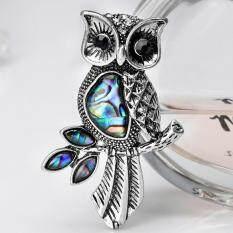 Veli nhút nhát Vintage Owl Vỏ Men Pin Đầm Bó hoa Cưới Động Vật Cổ Áo Sơ Mi Thổ Cẩm