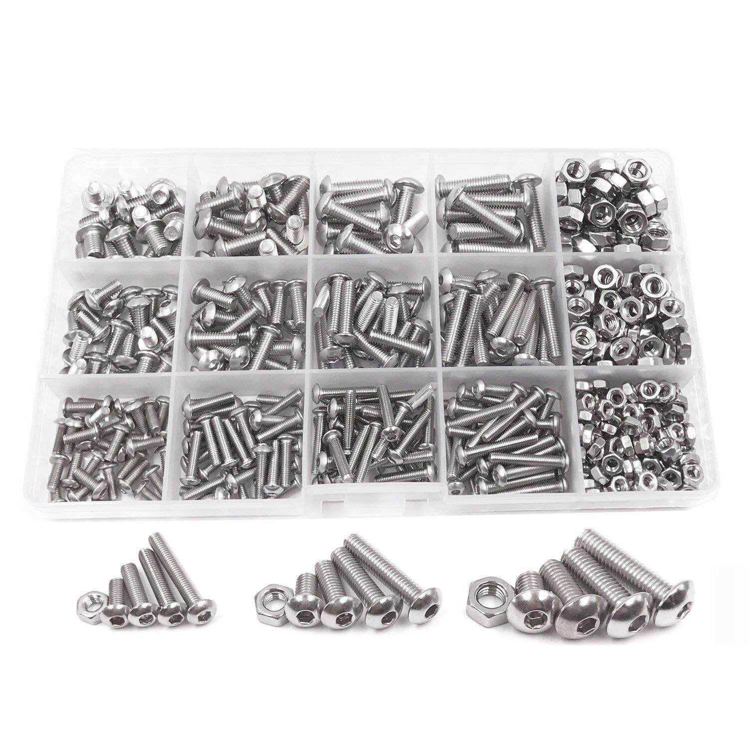500pcs M3 M4 M5 A2 Stainless Steel ISO7380 Button Head Hex Bolts Hexagon Socket Screws With Nuts Assortment Kit