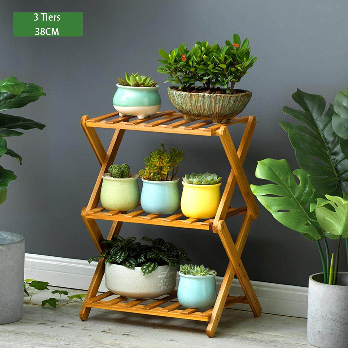 Mu Ma Ren 3 Tiers 38CM Length Floor flower shelf solid bamboo wood indoor multi-layer folding flower stand Renting/Decoration