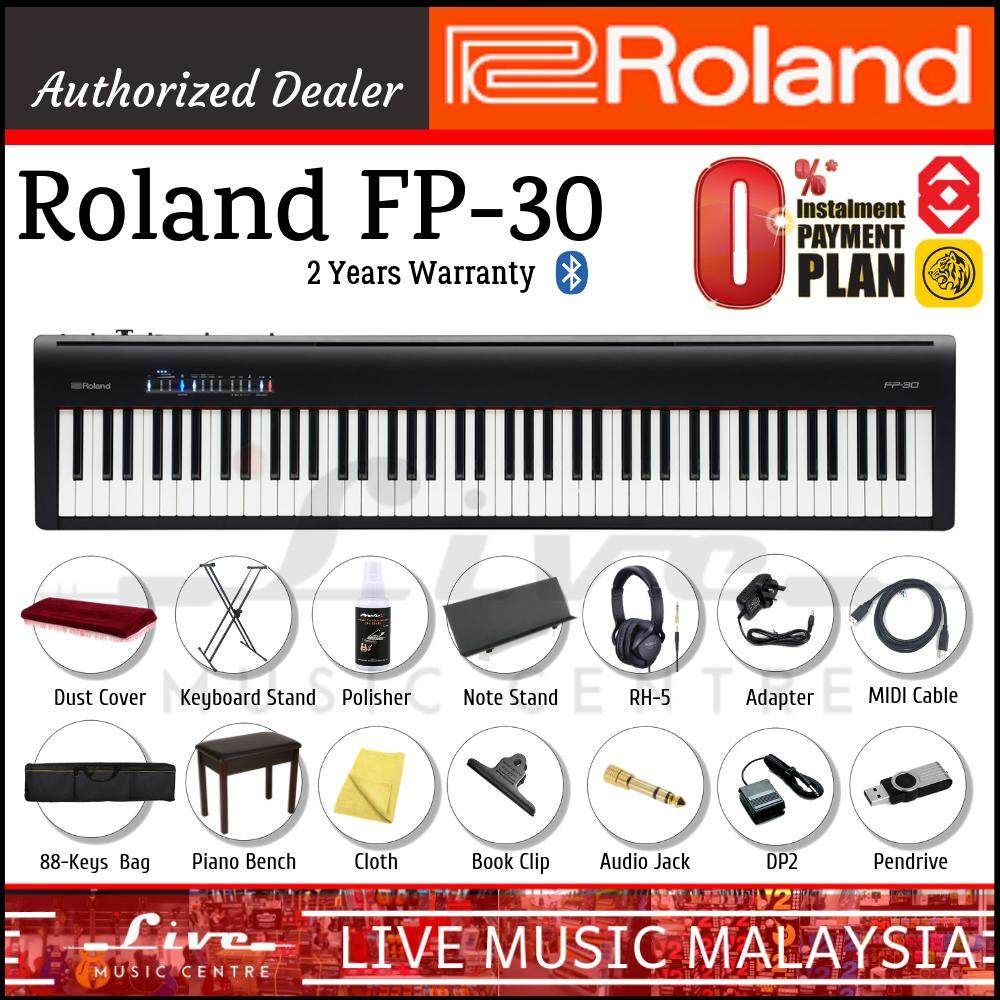 Roland FP-30 88-key Digital Piano With Bench, RH5 Headphone, Keyboard  Stand, DP-2 (FP30)