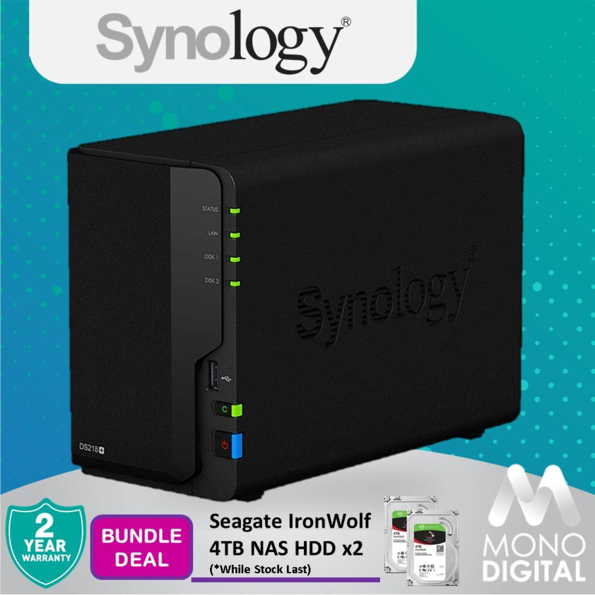 Synology DS218+ DiskStation NAS 2-Bays Bundle Seagate Ironwolf 4TB HDD x  2units (Original Synology Malaysia)