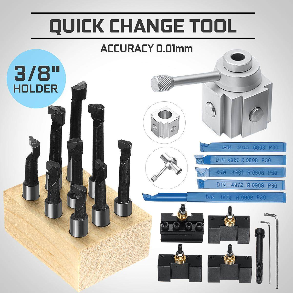 19Pcs Mini Quick Change Tool Post Lathe CNC Boring Bar Turning Tool Holder Kit