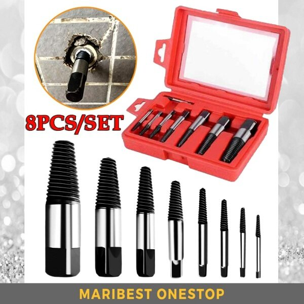 8PCS/SET Screw Extractor Damaged Screws Bolts Broken Pipes Easy Out Remover Extractor with Storage Case