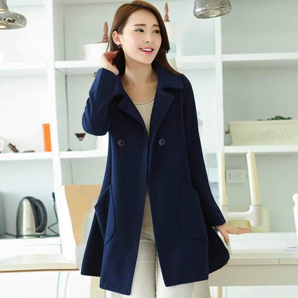 Women Turn-Down Collar Solid Color Coat Loose Midi Outwear By Bagbigb Mall.