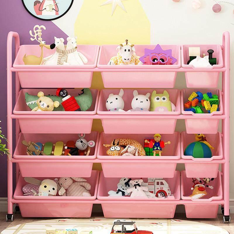 RuYiYu - Kids Toy Organizer and Storage Bins with Pulley/Universal Wheels, 12 Bins in Fun Colors, Toy Storage Rack, Steel Pipe Frame