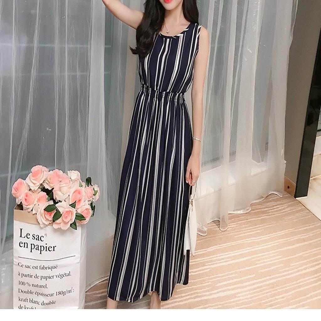 1650e8c0bcda7 Endowed Summer New Ladies Striped Long Sleeveless Round Neck Dress