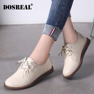 DOSREAL Giày Oxford Cho Nữ Giày Da Đế Bằng Giày Nữ Màu Trắng Giày Hàn Quốc Buộc Dây Thoáng Khí Giày Nữ Giày Đế Bằng thumbnail