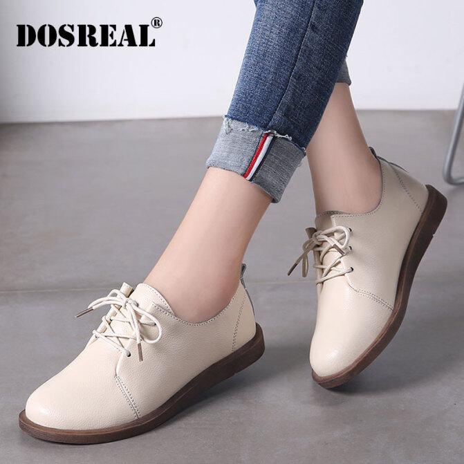 Giày Oxford Dosreal Cho Nữ Giày Da Đế Bệt Nữ Giày Trắng Thoáng Khí Ren Lên Giày Hàn Quốc Giày Nữ Đế Bằng giá rẻ